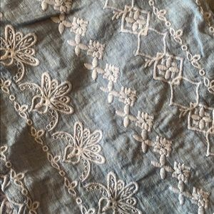 LOFT Pants - Loft chambray embroidered tie waist pants NWT